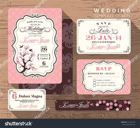 vintage wedding place cards template vintage wedding invitation set design template stock