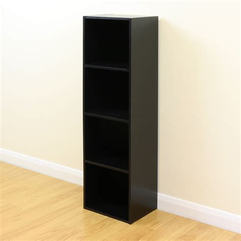 4 tier wooden black cube bookcase storage display unit