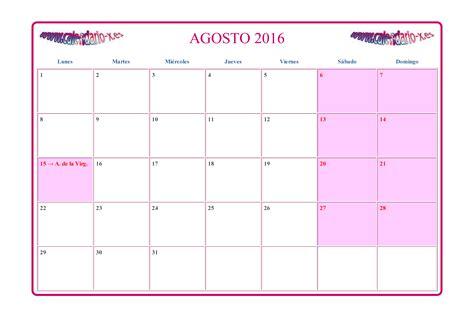 Calendario Agosto Calendario Agosto 2016