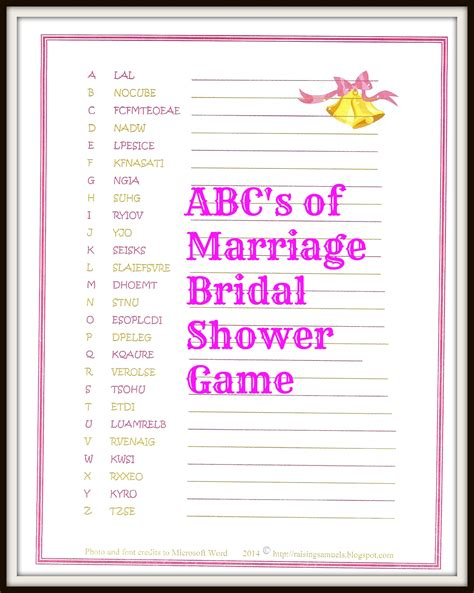 freebie abc marriage bridal shower game