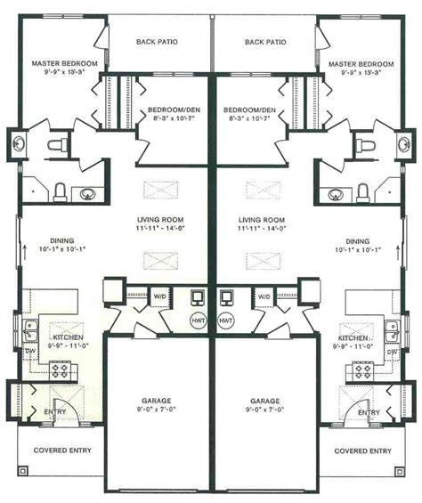 Duplex House Plans With Garage In The Middle | duplex house plans with garage in the middle