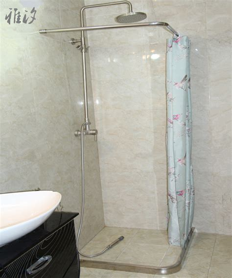 shower curtain bar curved custom right angle l shaped small curved stainless steel