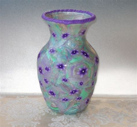Pastel Vase by 6 Inch Glass Vase Covered With Polymer Clay In A Pastel By