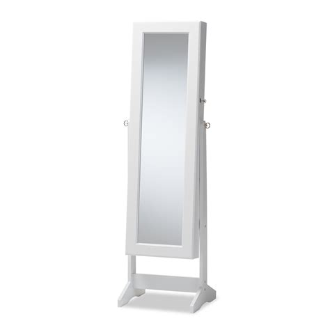 free standing jewelry armoire with mirror baxton studio alena white finishing wood free standing