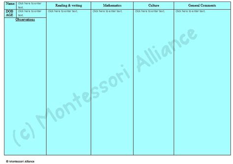 montessori report card template report card templates 171 montessori alliance