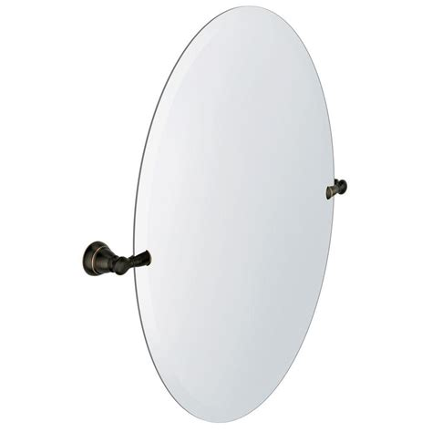 Moen Bathroom Mirrors Moen Banbury 22 95 In X 26 In Frameless Pivoting Single Wall Mirror In Mediterranean Bronze