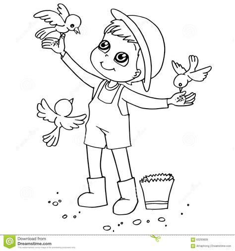 feeding ducks coloring page coloring book child feeding birds vector stock vector