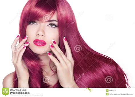 Hair Manicure wavy shine hair attractive with manicure nails
