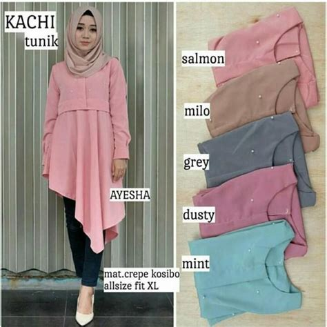 Tunik Ayesha baju muslim terbaru kachi tunik grosir baju muslim