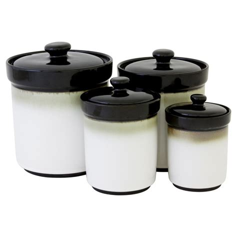 kitchen canisters set of 4 sango canisters in black set of 4 4932 316 the home depot