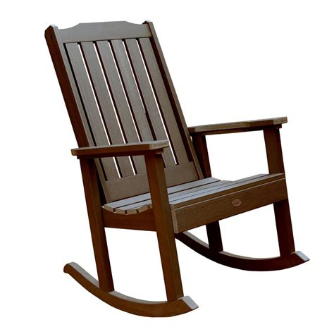 Rocking Patio Chairs Shop Highwood Usa Lehigh Weathered Acorn Plastic Patio Rocking Chair At Lowes