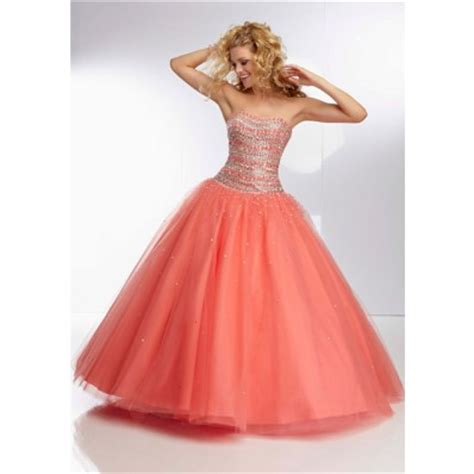 spezielle brautkleider gown strapless coral tulle beaded prom