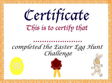 easter egg hunt for children games with certificate