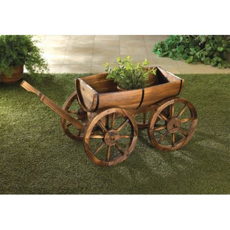 wooden wagon planter wooden apple barrel planter wagon potted plants herbs outdoor garden yard decor ebay