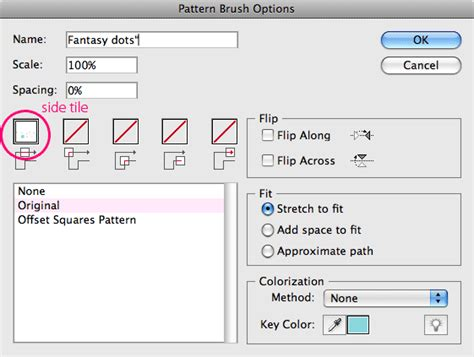 pattern brush options seamless illustrator pattern brushes with outer corner