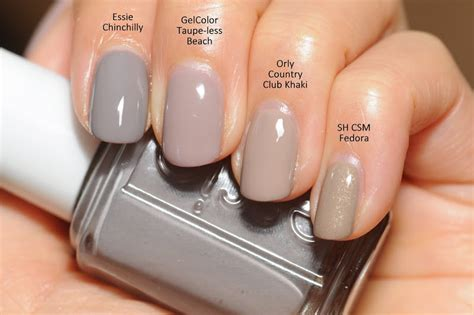 good nail color for the beach comparison essie chinchilly opi gelcolor taupe less