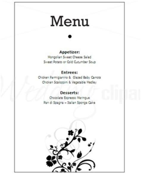 printable black and white floral menu new life stationery