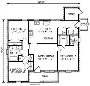 1100 square foot house plans ranch style house plan 3 beds 1 5 baths 1100 sq ft plan 66 286