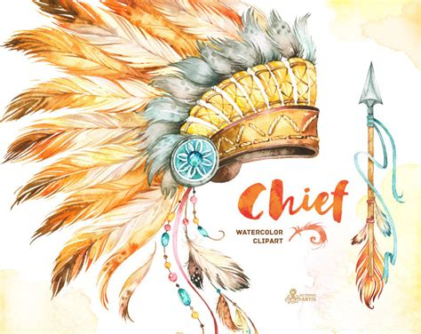 Chief. Indian Headdresses Dreamcatcher and Arrow. Watercolor