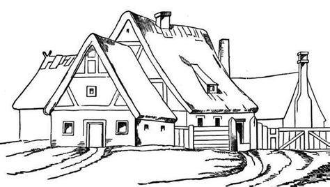 coloring pages big house house with big barn in houses coloring page house with