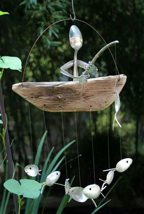 Garden Ornaments And Accessories Essex Wind Chimes Made With Silverware And Driftwood