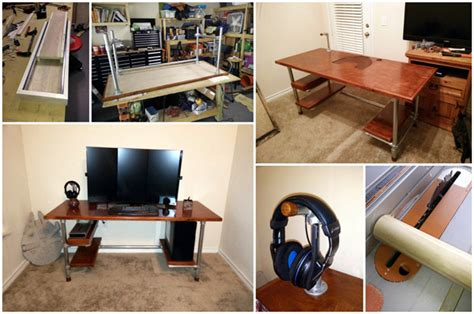 how to build a gaming desk multiple monitor computer desk plans make your own pvc