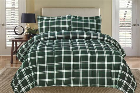 plaid green down alternative comforter set twin ebay