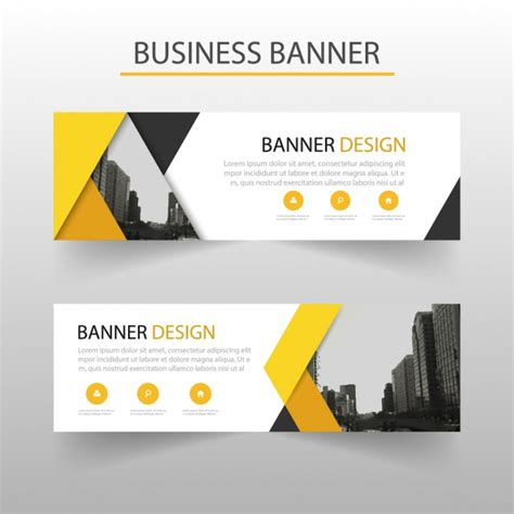 design banner simple modern banner with yellow geometric shapes vector free