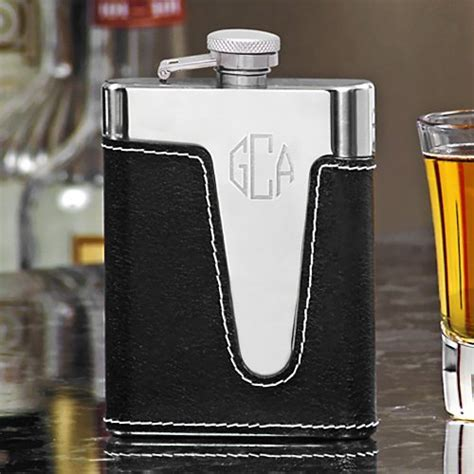 Engraved Black Leather Flasks, Personalized Groomsman's
