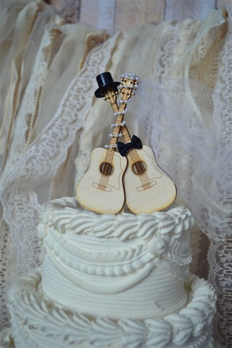guitar wedding cake topper musician ivory veil ivory wedding