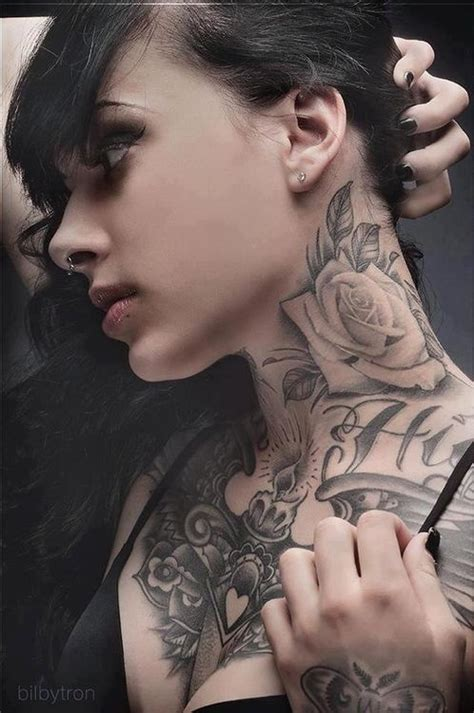 Rose Tattoo On Neck Girl | amazing girl s neck rose tattoo tattoomagz