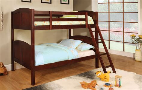 Rexford Cherry Bunk Bed With Angled Ladder Cm Bk903ch Cherry Bunk Beds
