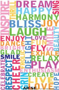 happy words 12 x18 color positivity poster 54