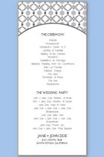 wedding program free template wedding program templates free printable wedding program
