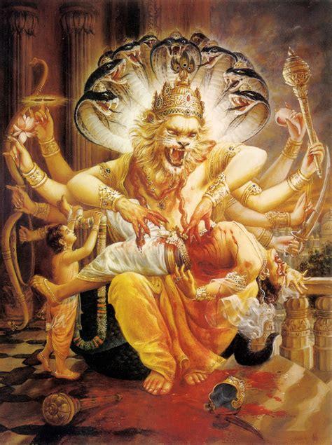 lord narasimha dev narasimha dev killing hiranyakasipu iskcon desire tree