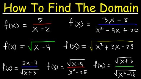 How To Find On The How To Find The Domain Of A Function Radicals Fractions Square Roots Interval
