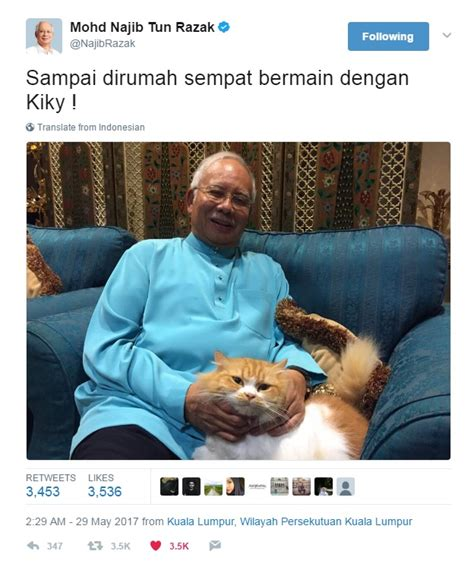 buat akun pb malaisya reaksi kucing pm najib jadi viral netizen buat meme