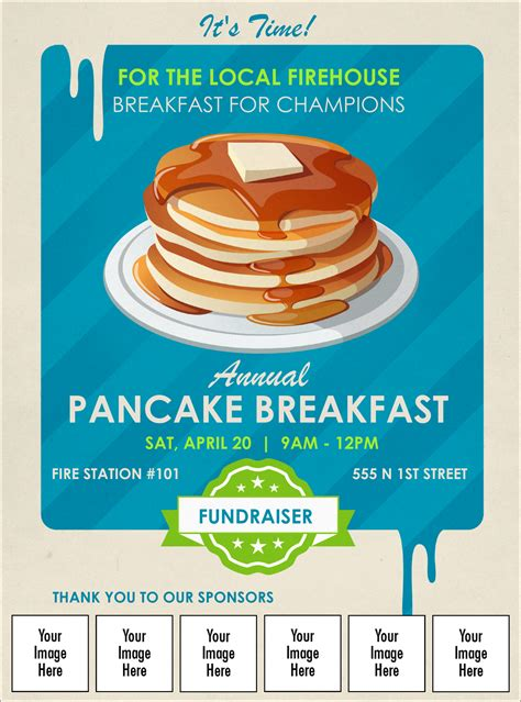 Pancake Stack Logo Flyer Breakfast Flyer Template