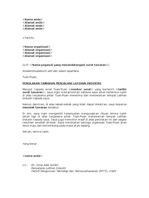 Offer Letter Kerja Surat Penolakan Tawaran