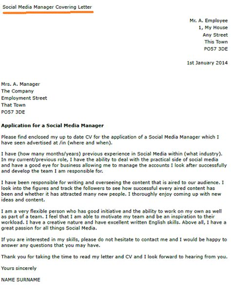Cover Letter For In Media Social Media Manager Cover Letter Exle Forums