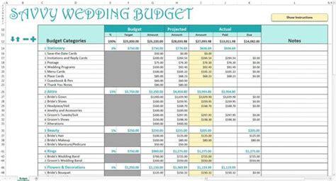 savvy wedding budget excel template editable printable wedding budget tracker