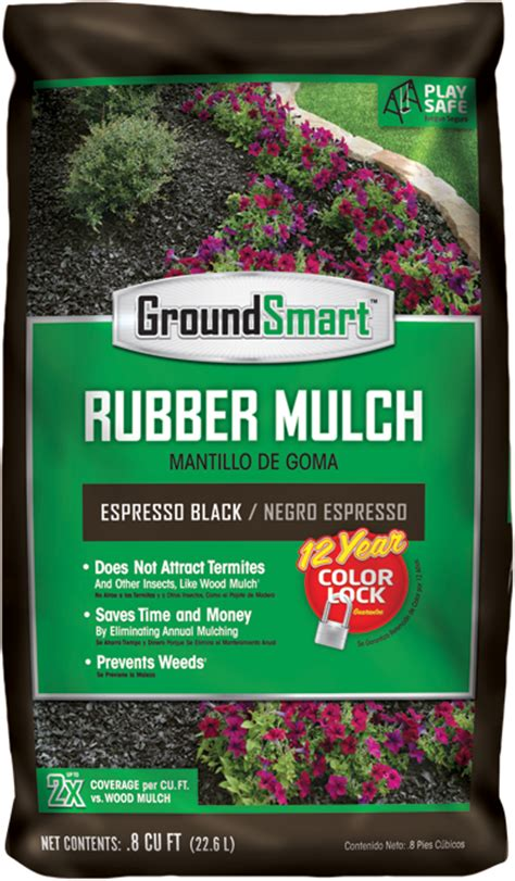 black rubber mulch espresso bag package groundsmart 12