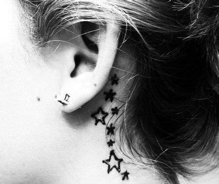 star tattoo behind right ear behind the ear tattoos curves design and virgos