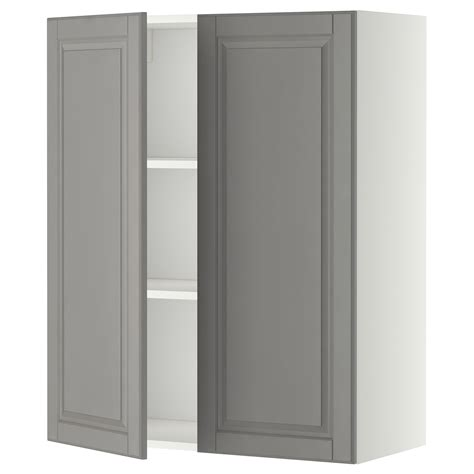 2 door kitchen wall cabinet metod wall cabinet with shelves 2 doors white bodbyn grey