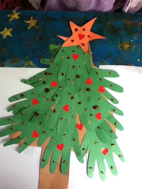 handprint christmas tree craft preschool education for kids