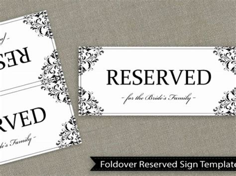 Free Printable Reserved Table Signs Template Fresh Wedding Reserved Sign Template Download By Table Sign Template