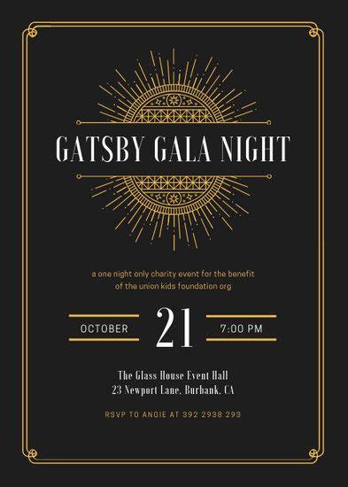 white  gold elegant great gatsby invitation templates