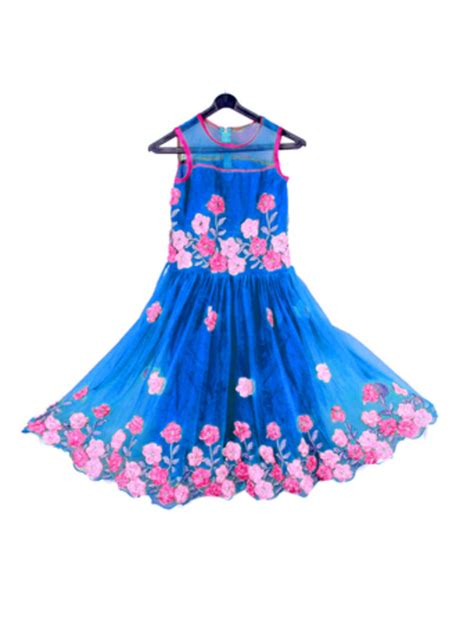 kids designs buy blue color net fabric ribbon flower embroidrery work