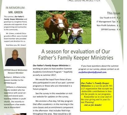 Family Our Newsletter by Our S Family Keeper Ministries