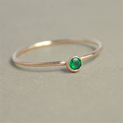 emerald ring gold ring one delicate stackable birthstone